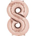 "Number 8 Rose Gold SuperShape Foil Balloons 21""/53cm w x 33""/83cm h P50 - 5 PC"