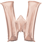 Letter W Rose Gold SuperShape Foil Balloons 28/71cm w x 33/83cm h P50 - 5 PC