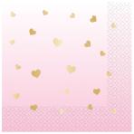 1st Birthday Pink Hot Stamped Luncheon Napkins 33cm - 12 PKG/16