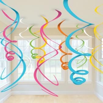Multi-Colours Plastic Swirls Decorations 55cm - 6 PKG/12