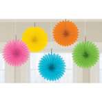 Multi Colour Mini Paper Fans 15cm - 6 PKG/5
