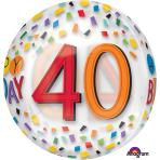"""Rainbow Happy 40th Birthday Clear Orbz Foil Balloons 15""""/38cm w x 16""""/40cm h G20 - 5 PC"""