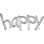 """Happy"" Freestyle Silver Phrase Balloons 41""/104cm w x 20""/50cm h G40 - 5 PC"