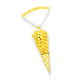 Sun Yellow Candy Buffet Cone Polka Dots Bags - 24 PKG/10