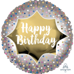 Happy Birthday Satin Gold Burst Standard XL Foil Balloons S40 - 5 PC