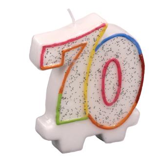 Multicolour 70 Candles - 7.6cm 5 PKG