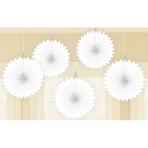 White Paper Mini Paper Fans 15cm - 6 PKG/5