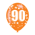 """Age 90 Assorted Colours Latex Balloons 11""""/27.5cm - 10 PKG/6"""