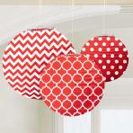 Apple Red Dots & Chevron Round Lanterns 24cm - 6 PKG/3