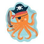 Ahoy Birthday Octopus Shaped Paper Plates 18cm - 12 PKG/8