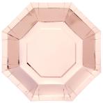 Metallic Rose Gold Octagonal Plates 23cm - 6 PKG/8