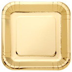 Metallic Gold Square Plates 23cm - 6 PKG/8