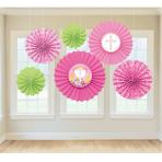 Communion Pink Paper Fans - 6 PKG/6