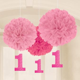 1st Birthday Pink Paper Fluffy Decorations - 6 PKG/3