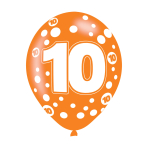 """Age 10 Assorted Colours Latex Balloons 11""""/27.5cm - 10 PKG/6"""