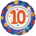 SpotOn 10th Happy Birthday Standard Foil Balloons S40 - 5 PC
