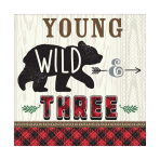 "Little Lumberjack ""Young, Wild & Three"" Luncheon Napkins 33cm - 12 PKG/16"