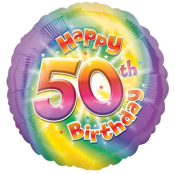 Happy 50th Birthday Circle Foil Balloon HS40