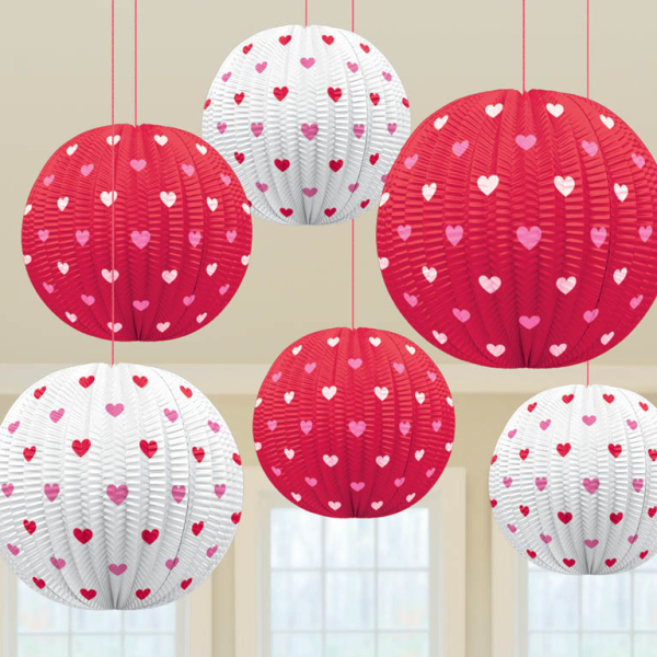 VALENTINES DAY PARTY MINI RED WHITE HEART LANTERN HANGING