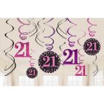 Pink Sparkling Celebration 21st Swirl Decorations - 12 PKG/12