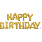 Happy Birthday Gold Phrase Balloons P55 - 5 PC