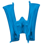 """Letter W Blue Minishape Foil Balloons 16""""/40cm A04 - 5 PC"""