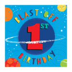 Blast Off 1st Birthday Luncheon Napkins 33cm - 12 PKG/16