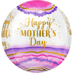 "Happy Mother's Day Watercolour Geode Orbz Foil Balloons 15""/38cm x 16""/40cm G20 - 5 PC"