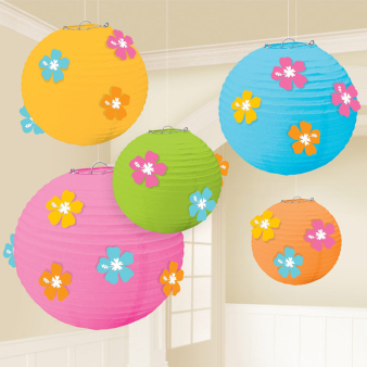Hibiscus Paper Lanterns with Add Ons - 6 PKG/5