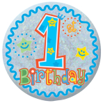 Happy 1st Birthday Boy Holographic Badges 5.5cm - 12 PKG