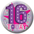 16 Today Holographic Badges 5.5cm - 12 PKG