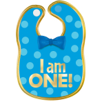 "1st Birthday Boy ""I Am One"" Polyester Bib with Gold Hot Stamped Lettering - 6 PC"