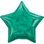 Green Iridescent Star Standard HX Packaged Foil Balloons S40 - 5 PC