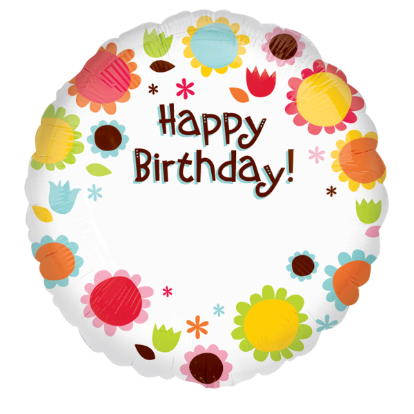 Happy Birthday Flowers Personalized Standard Foil Balloons S40