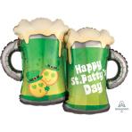 "St. Patty's Day Emoticon Mugs SuperShape Foil Balloons 32""/81cm w x 25""/63cm h P35 - 6 PC"