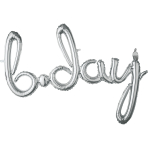 """Bday"" Script Phrase Silver Foil Balloons 37""/93cm x 27""/68cm G40 - 5 PC"