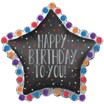 "Happy Birthday To You Satin Star SuperShape XL Foil Balloons 34""/86cm w x 32""/81cm h P35 - 5 PC"