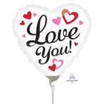 Love You Black Mini Foil Balloons A10 - 5 PC