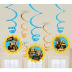 My 1st JCB Hanging Swirl Decorations 14cm - 6 PKG/6