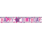 Happy 16th Birthday Holographic Foil Banners 2.7m - 12 PC