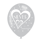 "Silver 25th Anniversary Latex Balloons 11""/27.5cm - 10 PKG/6"