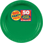 Festive Green Paper Plates 23cm - 6 PKG/50