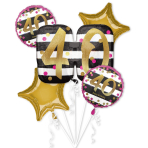 Pink & Gold 40th Birthday Foil Balloon Bouquets P75 - 3 PC