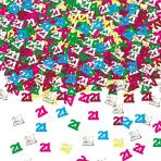 Number 21 Multi Colour Metallic Confetti 14g - 12 PC
