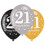 """Gold Sparkling Celebration 21st Latex Balloons 21""""/27cm - 6 PKG/6"""