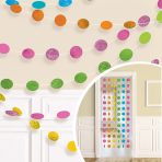 Multi Colour Glitter String Decoration 2.13m - 6 PKG/6