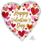 "Playful Valentine's Hearts Jumbo Satin Luxe HX Foil Balloons 28""/71cm w x 28""/71cm h P32 - 5 PC"