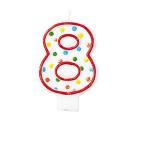 Polka Dots Birthday Candles Number 8 - 7.6cm 12 PKG