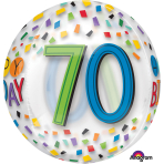 "Rainbow Happy 70th Birthday Clear Orbz Foil Balloons 15""/38cm w x 16""/40cm h G20 - 5 PC"