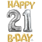 """Happy 21 B-Day"" Phrase & Number Bunch Foil Balloons P75 - 3 PC"